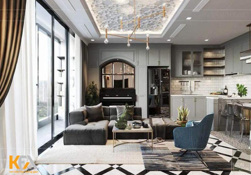 Mẫu phòng khách biệt thự được bài trí theo xu hướng Art Deco độc đáo và ấn tượng