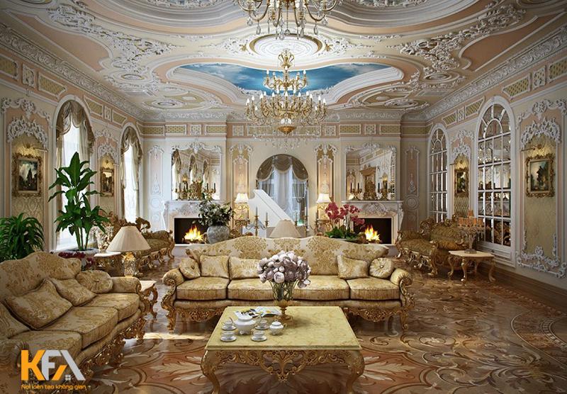 Không gian hoa lá lộng lẫy của phong cách thiết kế nội thất baroque
