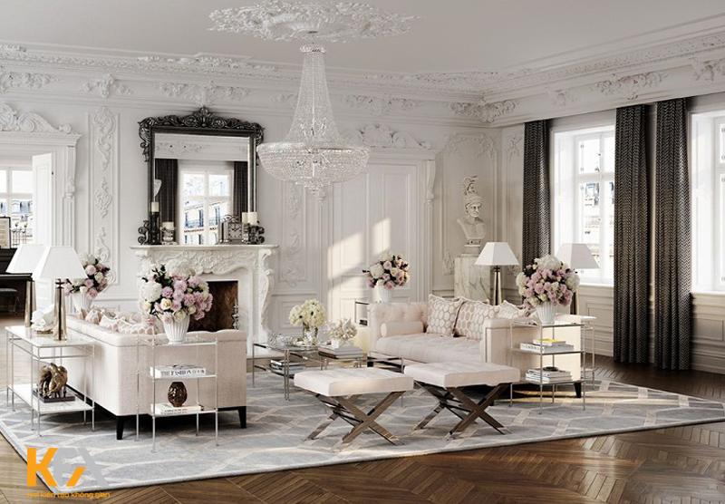 Các chi tiết nghệ thuật làm bằng thạch cao, đá cẩm thạch, vàng và bạc thường thấy trong không gian Baroque.
