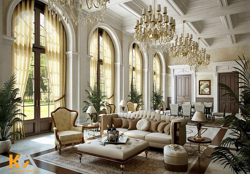 Màu trắng mang đến vẻ đẹp thanh lịch cho toàn bộ nội thất theo phong cách Baroque.