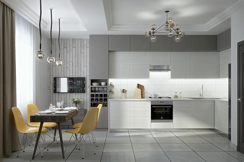 Gam màu trung tính trong thiết kế phòng bếp hiện đại