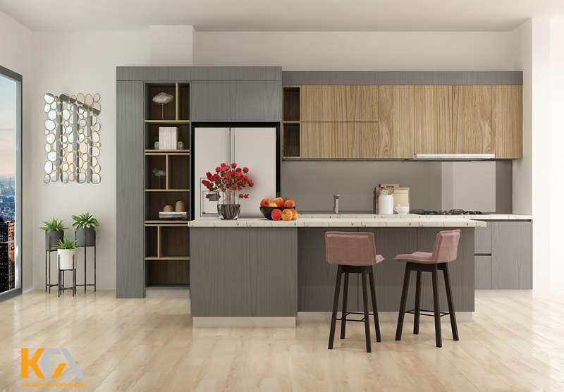 Gam màu trung tính cho không gian nấu nướng càng thêm trang nhã