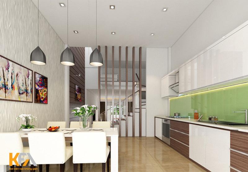 Bếp nhà ống theo phong cách hiện đại