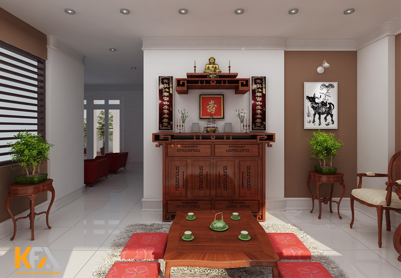 Đa phần các phòng khách nhà cấp 4 nông thôn đều có ban thờ gia tiên hoặc thờ thần tài