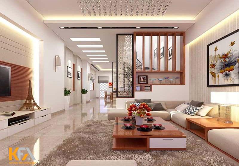 Phòng khách có cầu thang thường mang vẻ đẹp thiết kế độc đáo và tinh tế