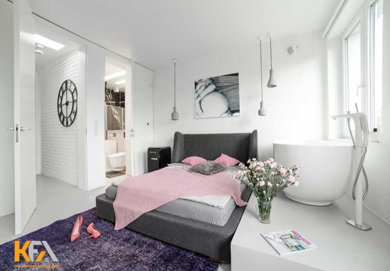 Không gian phòng ngủ có nhà vệ sinh đầy đủ tiện nghi