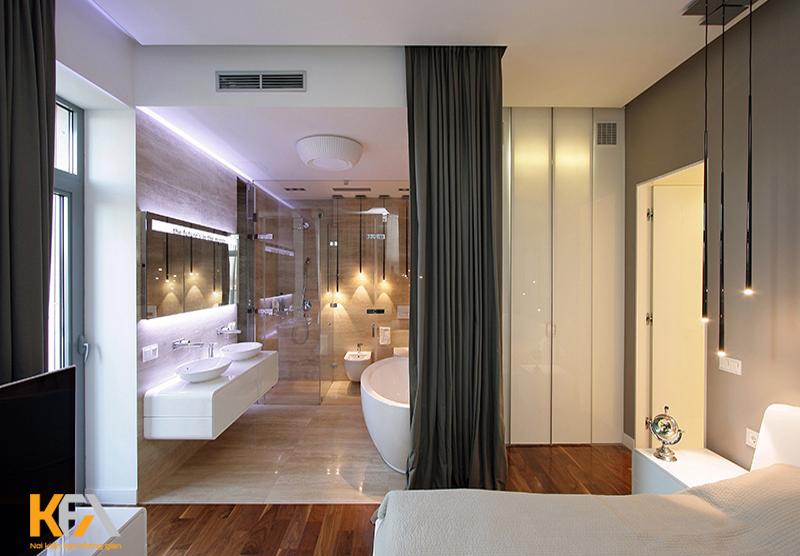 Không nên thiết kế nhà vệ sinh ở trung tâm phòng ngủ