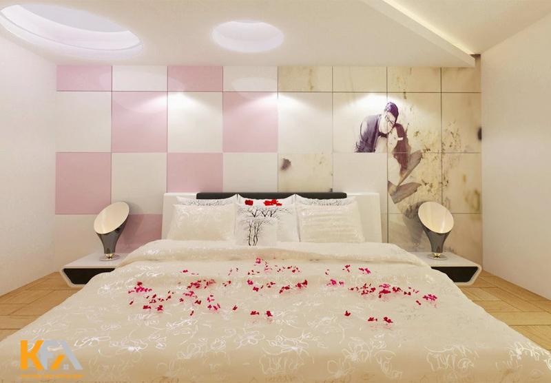 Phòng ngủ cho vợ chồng mới cưới với sắc trắng tinh khôi