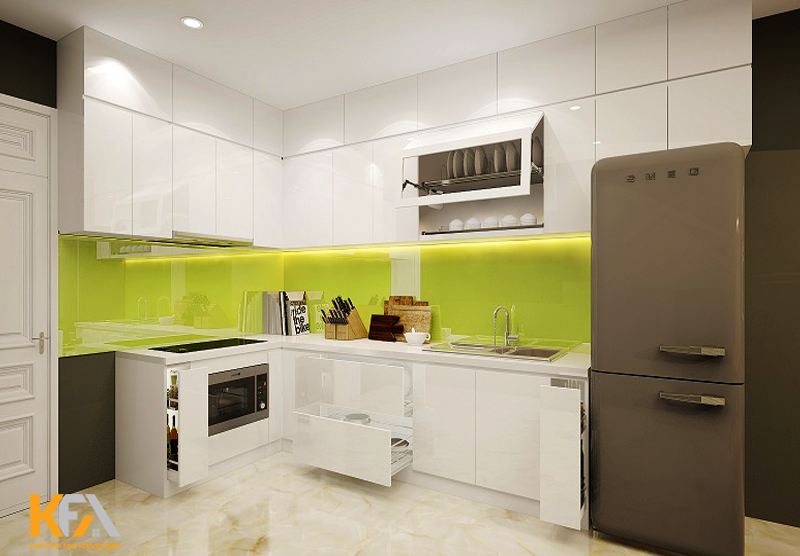 Hình dạng của nội thất phòng bếp nên là hình tam giác và hình chóp để giúp bạn thu hút nhiều tài lộc.