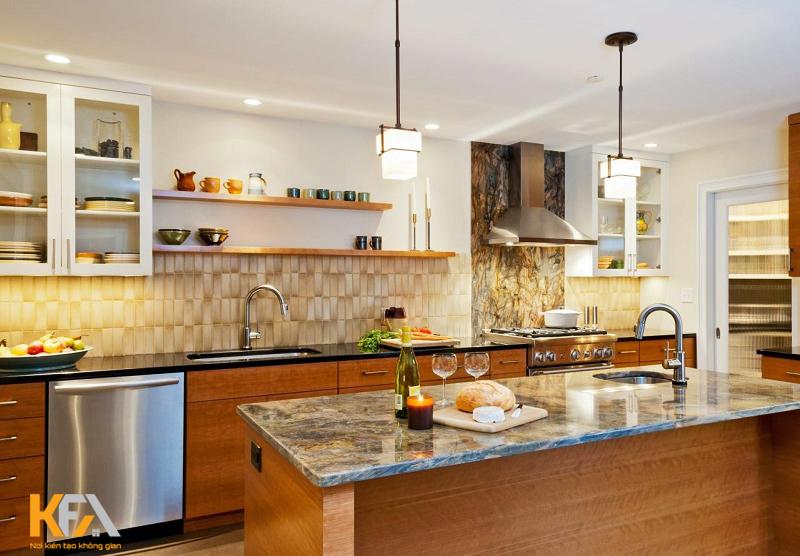Căn bếp với tone màu trầm ấm