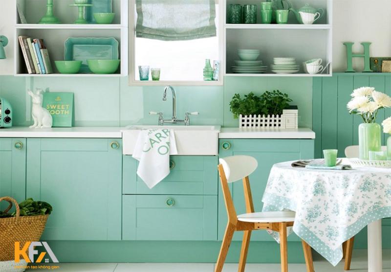 Tone màu xanh cho không gian nấu nướng độc đáo hơn