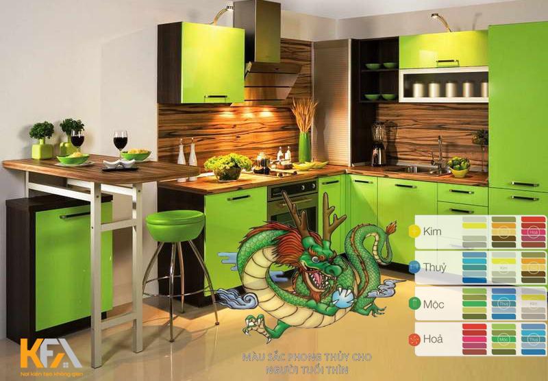 Màu sắc phù hợp căn bếp gia chủ tuổi Rồng