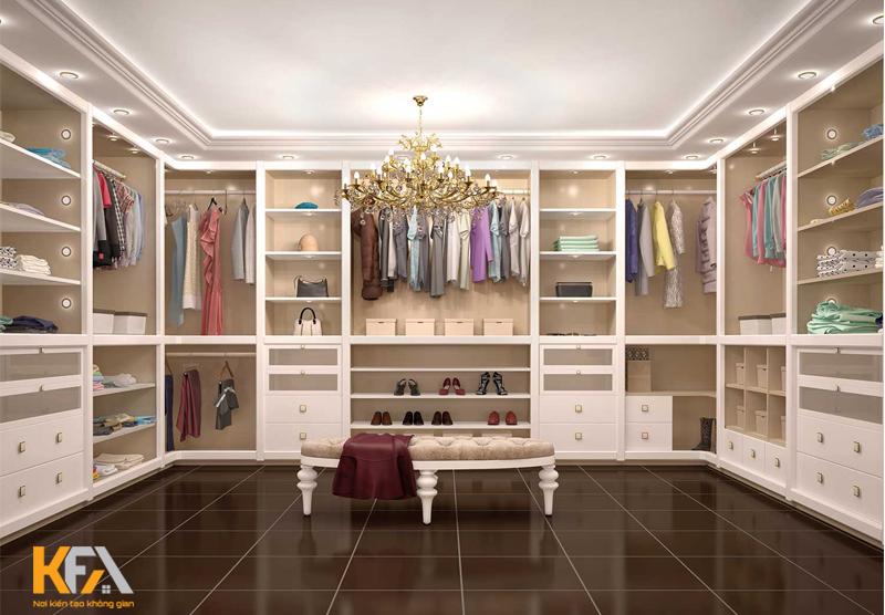Phòng Walk-in Closet cổ điển bằng gỗ