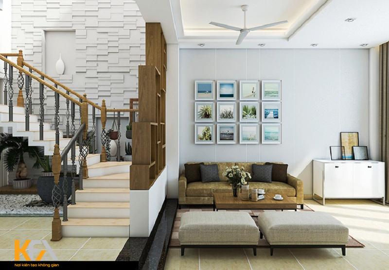 Phòng khách chung cư có cầu thang
