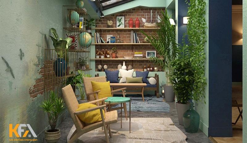 Nguồn không khí xanh và cây xanh vào trong phòng khách
