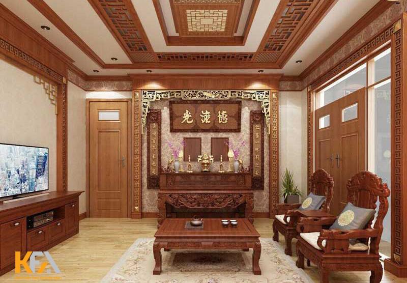 Khi đặt bàn thờ cần chú ý chọn vị trí thông thoáng và đẹp nhất trong phòng khách