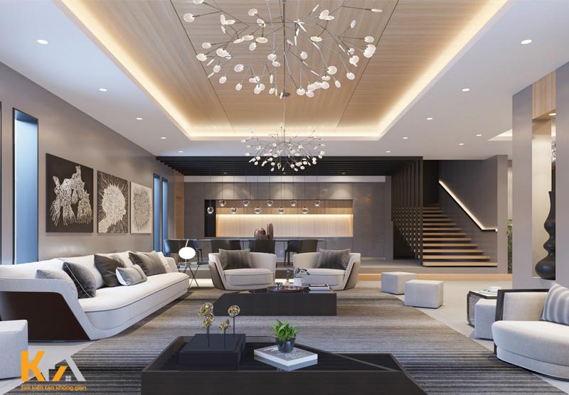 Thiết kế ánh sáng đưa ra thì chọn đèn phải bằng 1/5 chiều cao từ vị trí sàn nhà đến trần.