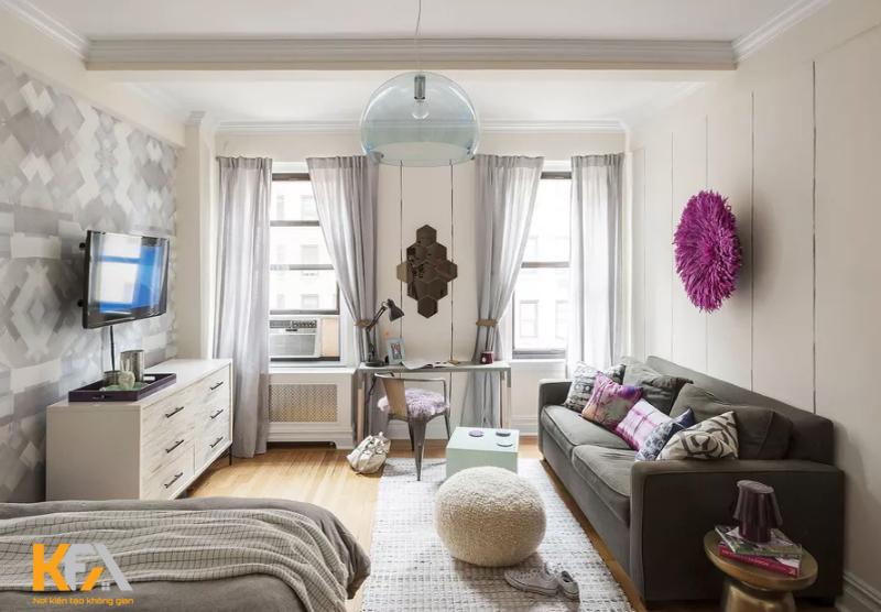 Căn hộ nhỏ được kết hợp phòng bếp, phòng khách, phòng ngủ