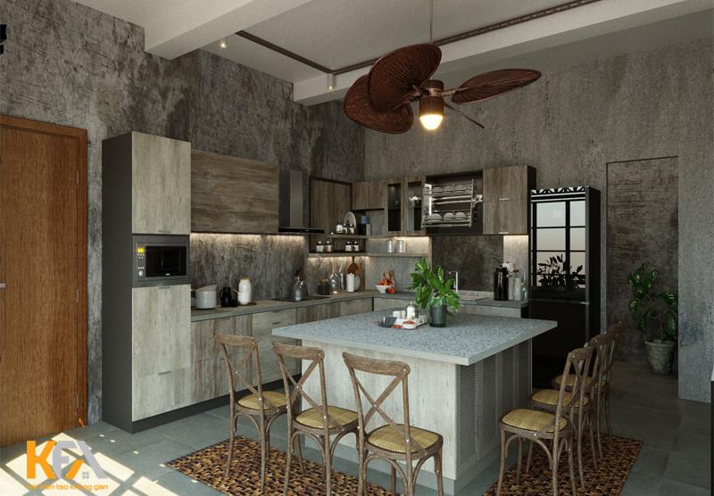 Đèn trong bếp sử dụng chủ yếu là đèn vàng để giúp tạo nên vẻ đẹp nổi bật cho nội thất