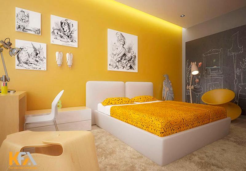 Phòng ngủ màu vàng cho gia chủ mệnh Thổ