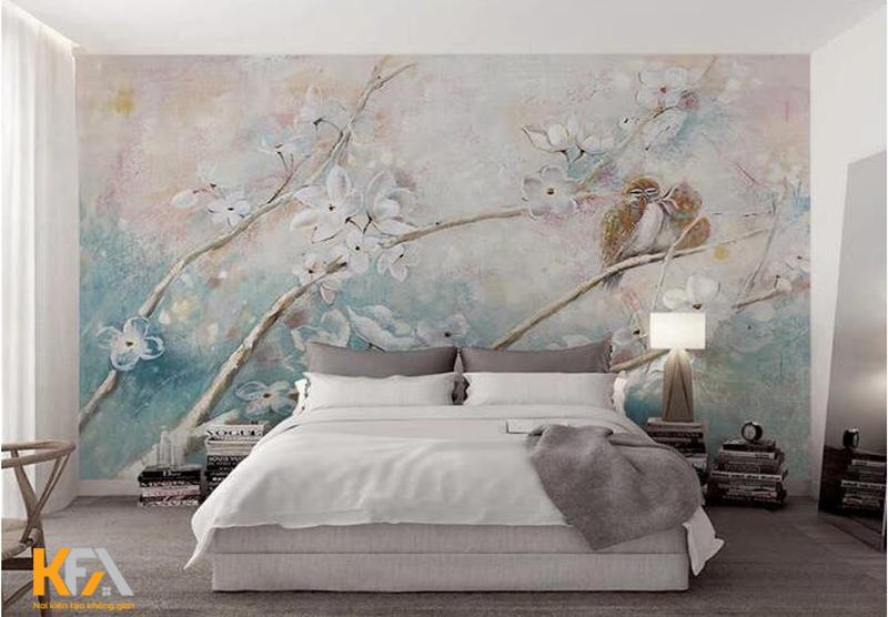 Mẫu tranh tường cành hoa mong manh trên thiết kế nền tường nhẹ nhàng