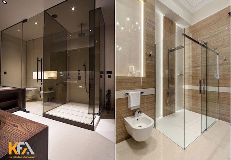Kính phòng tắm có thể chọn theo hình dáng và diện tích của phòng tắm