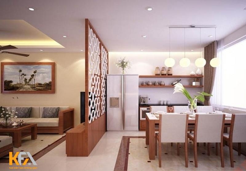 Vách ngăn phòng bếp và phòng khách