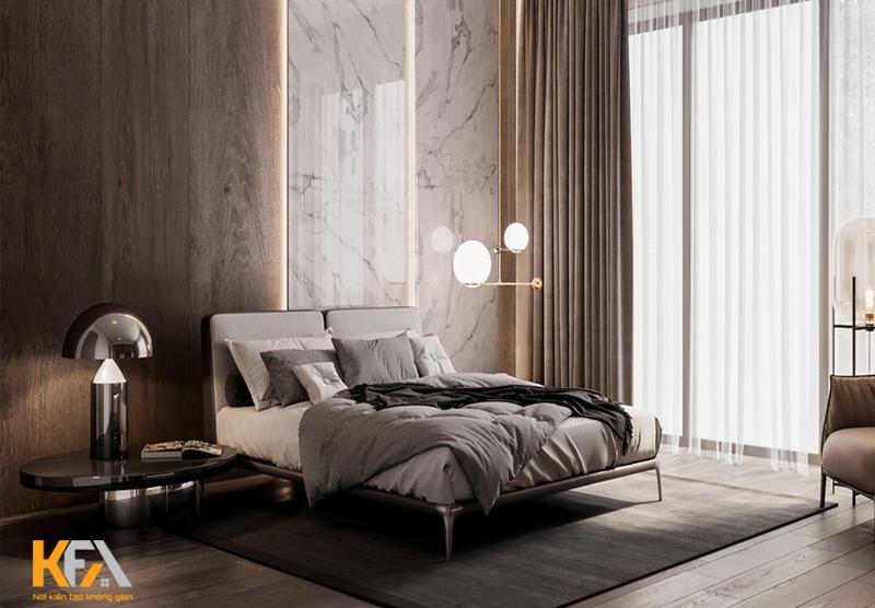 Sử dụng đá tự nhiên trong không gian phòng ngủ là lựa chọn hoàn hảo