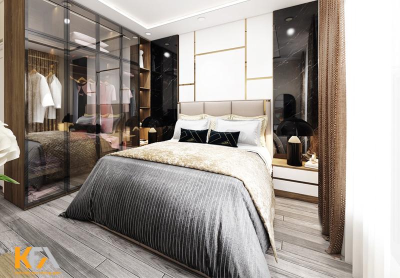 Phòng ngủ sang trọng với vách nhựa giả đá