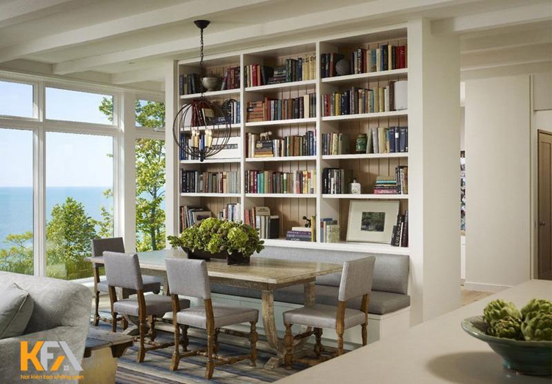 Phòng đọc sách không thể nào vắng bóng một thiết kế giá sách