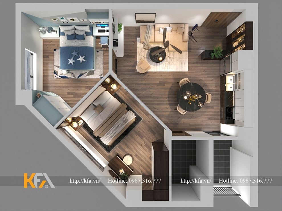 Thiết kế nội thất chung cư Le Grand Jardin- Anh Tiến