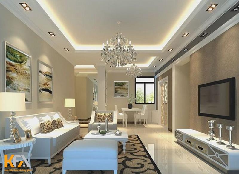 Trần thạch cao phòng khách cổ điển, tân cổ điển