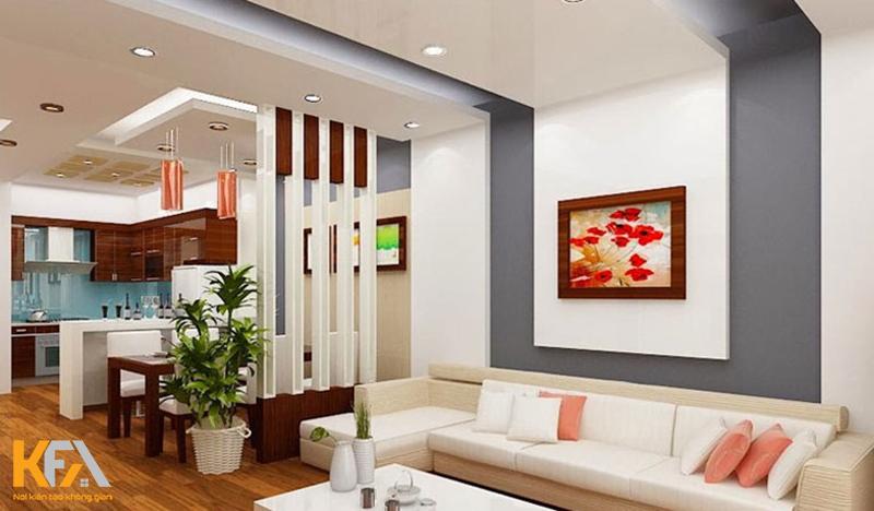 Trần thạch cao phòng khách đơn giản hiện đại