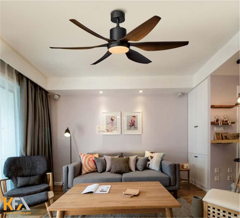 Quạt trần đèn led là mẫu quạt trần trang trí đẹp cho phòng khách
