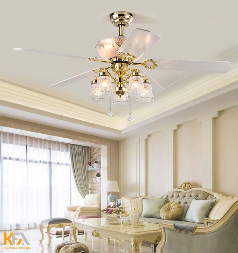 Hé lộ mẫu quạt trần trang trí đẹp cho phòng khách